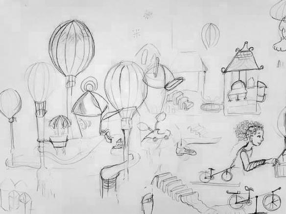 Projet illustration ville montgolfière - croquis
