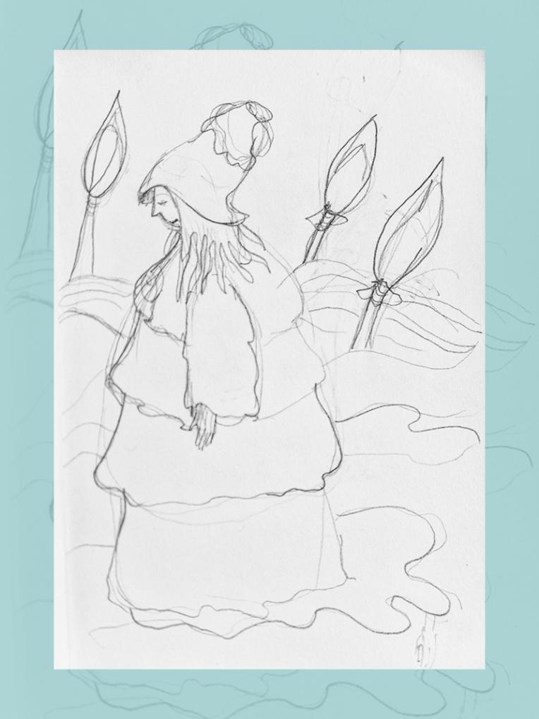 croquis fille dans un paysage de sucettes