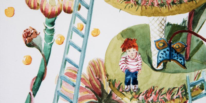 Extrait illustration jardin de jeux suspendu pour enfants