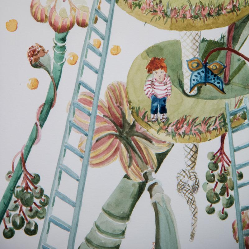 Extrait illustration jardin d'enfant illustration gauche aquarelle