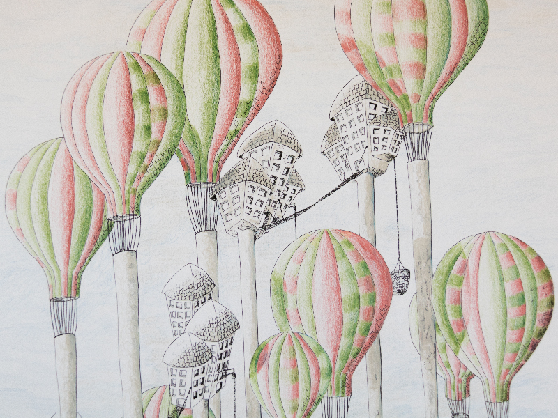 les arbres montgolfières extrait illustration - crayon de couleur et encre