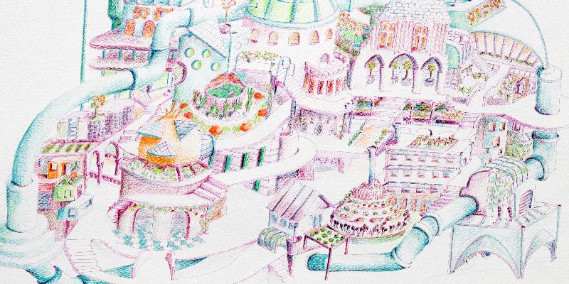 Détail illustration d'une ville écolo de demain