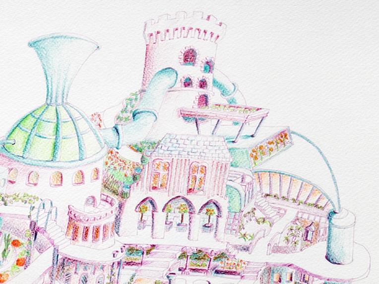 Détail du haut d'une illustration ville écolo de demain