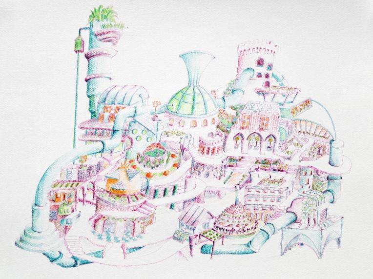 Illustration d'une ville écolo dans le futur - crayon couleur - format mis raison
