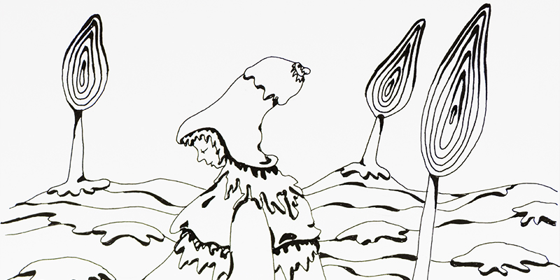 En tête illustration encre noire _ petit fille traînant une sucette