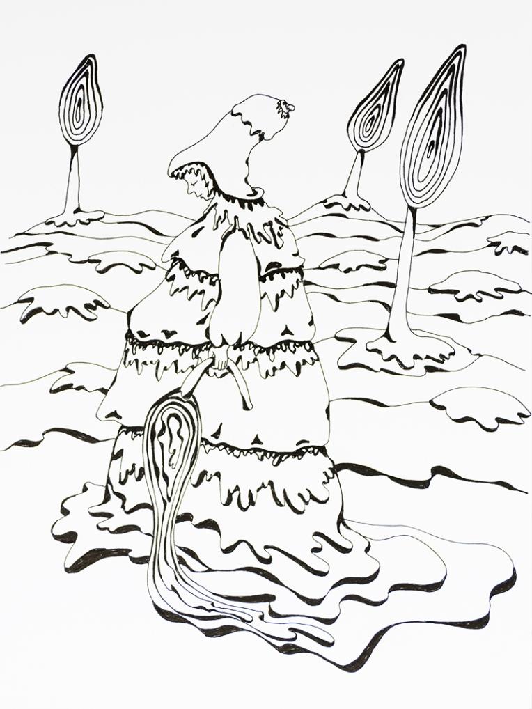 Illustration noire et blanc petite fille dans un paysage crémeux