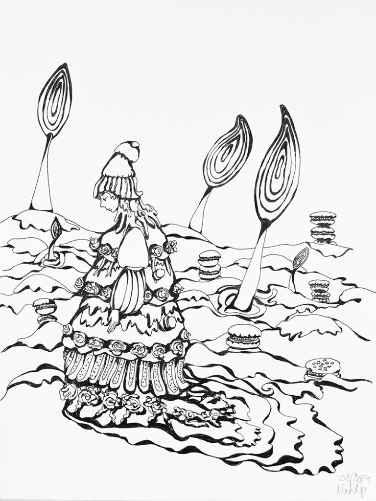 Illustration d'une petite fille dans un paysage de sucreries - sucettes, macaron- encre noire