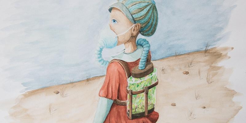 illustration gouache petite fille avec marque et bouteille oxygène