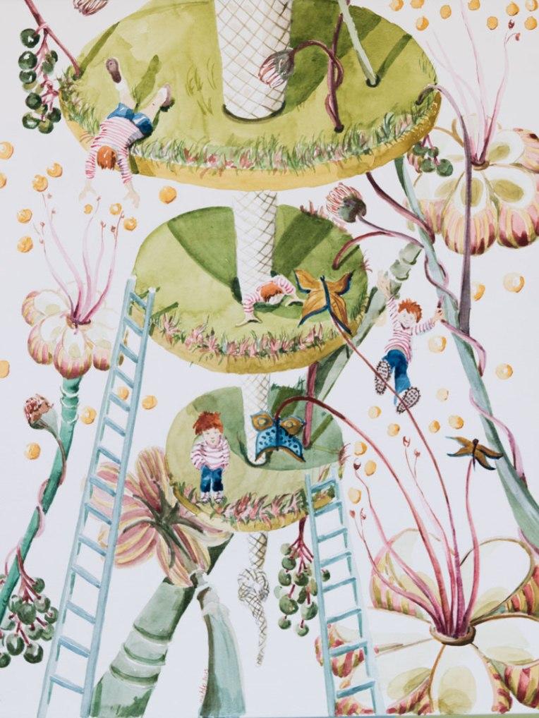 Illustration jardin suspendu de jeux pour enfants fait à l'aquarelle