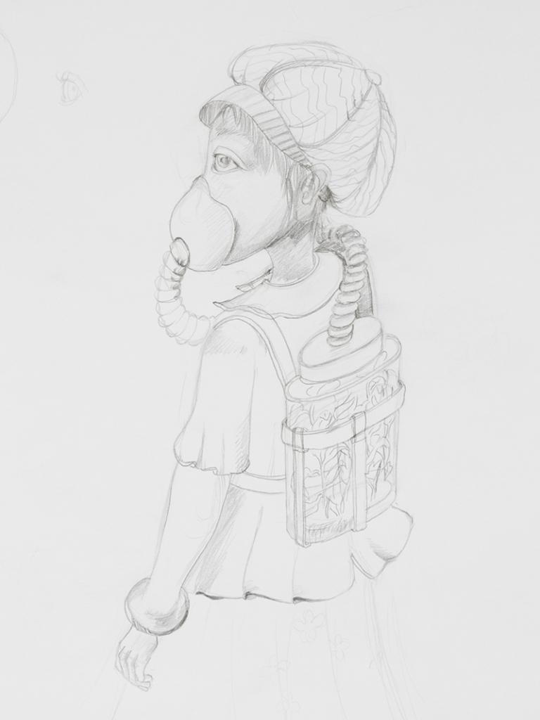 Projet illustration fillette portant un masque à air avec bouteille en verre remplie de plante verte