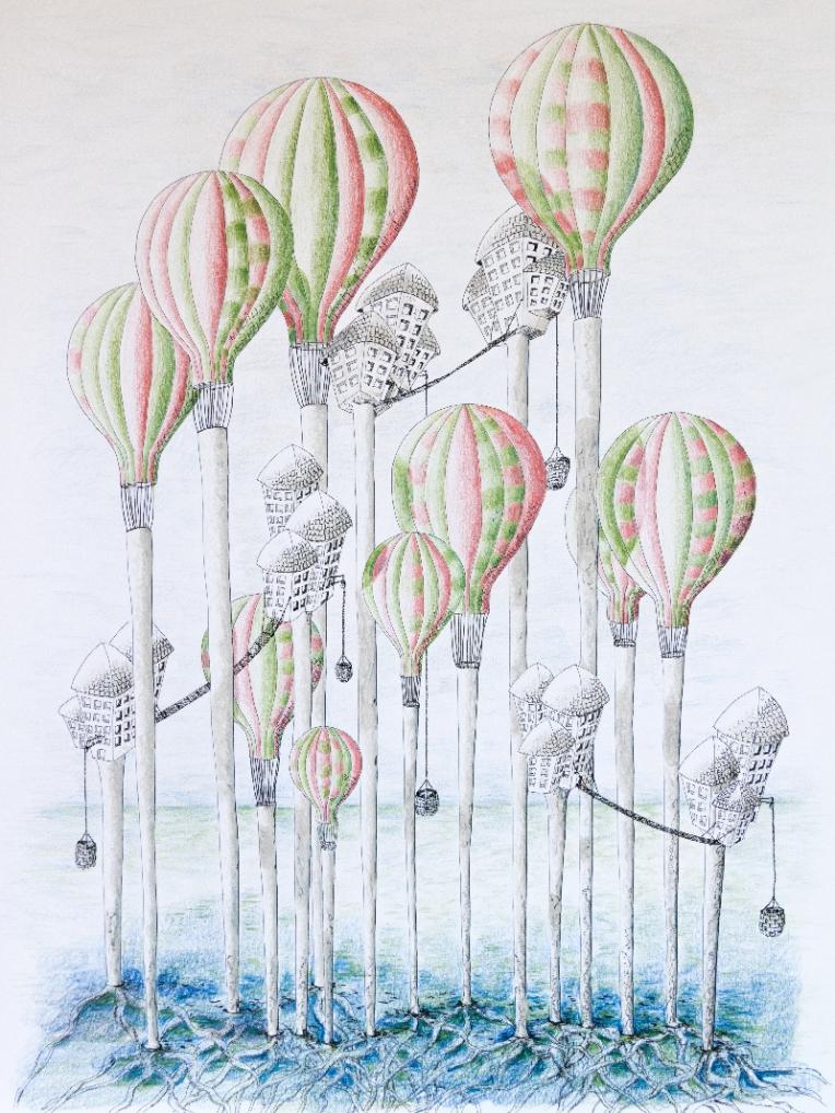 Illustration ville suspendue dans des arbres montgolfières