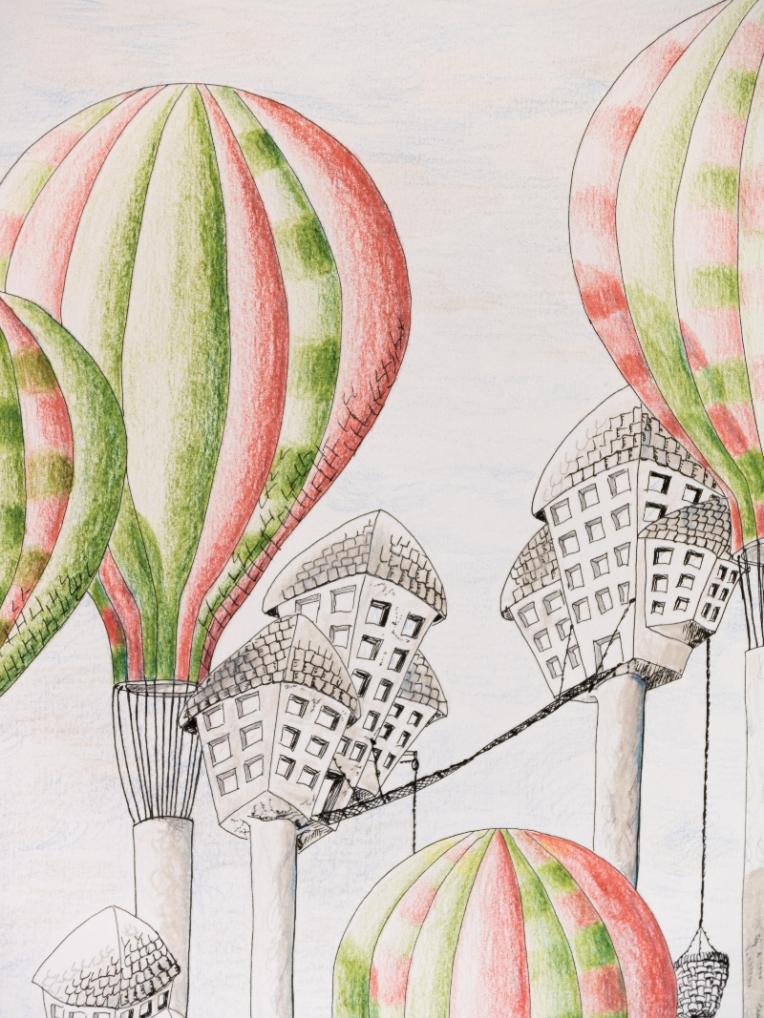 Extrait illustration ville suspendue dans des arbres montgolfières