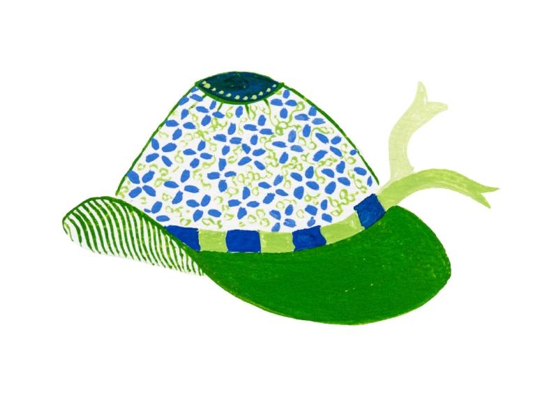 dessin gouache bob vert et fleurs bleues
