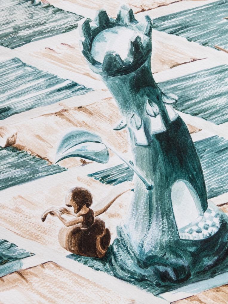 Détail illustration jeu d'échec - pion qui reprise l'échiquier à l'abri d'une tour