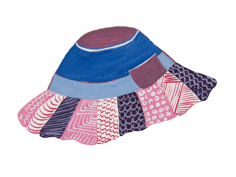 Dessin gouache d'un chapeau enfant de type bob violet et bleu