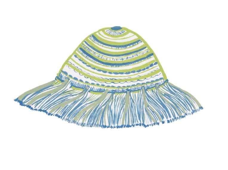illustration chapeau enfant-bob rayé bleu-et anis