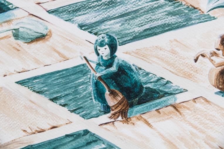 Détail illustration d'un pion passant le ballet sur l'échiquier