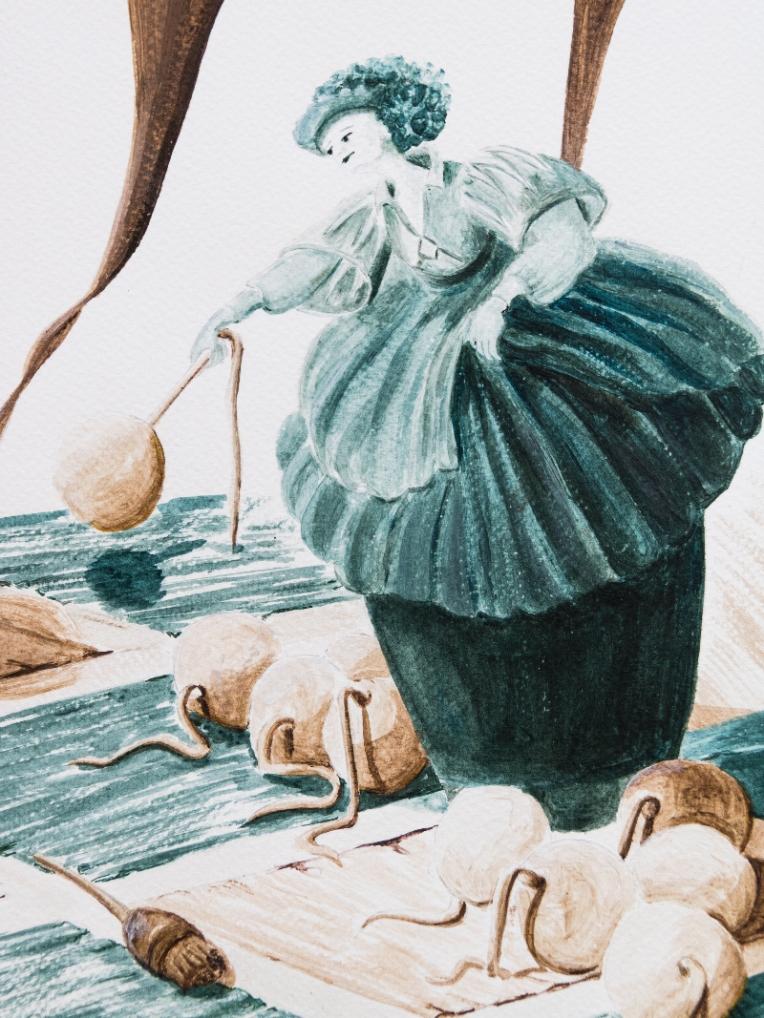 Illustration jeu d'échec - détail de la reine verte lançant des boulets