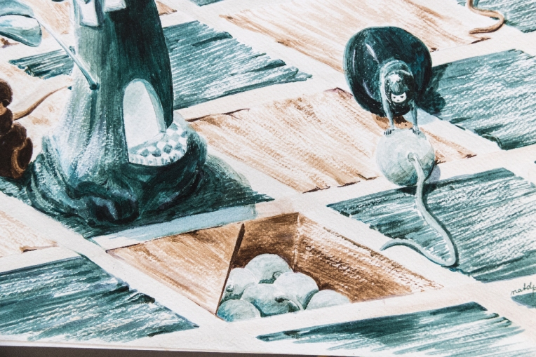 Détail illustration sur le jeu d'échec - un pion poussant un boulet lancé par la Reine