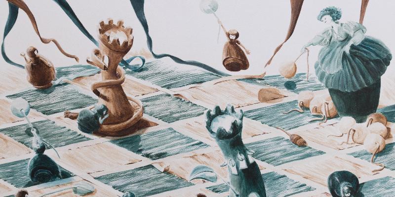 En tête illustration d'une bataille dans le jeu d'échec