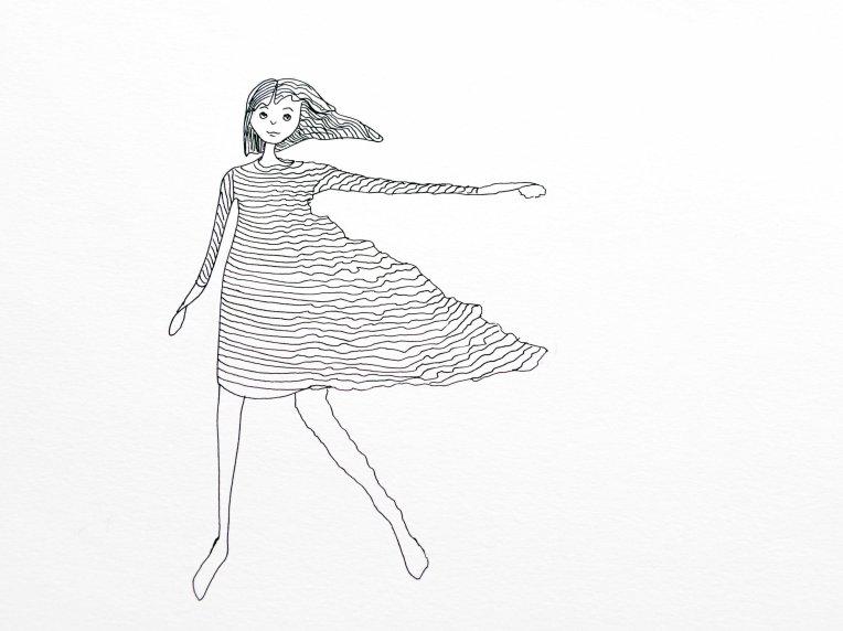 illustration effet du vent sur le corps et la robe d'une fille