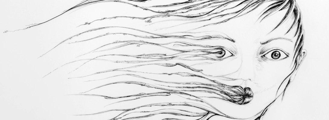 Illustration d'un visage emporté par le vent