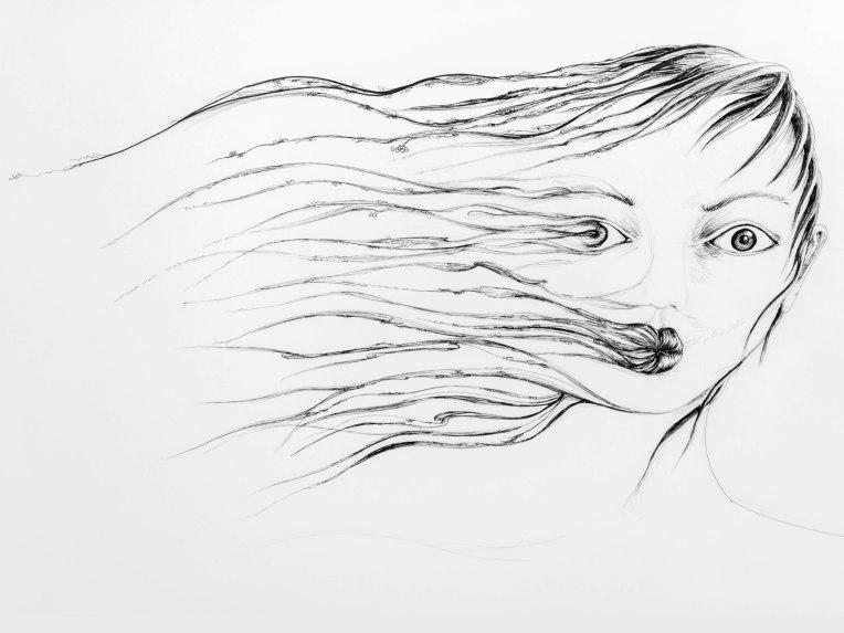 illustration d'un visage qui s'étiole dans le vent