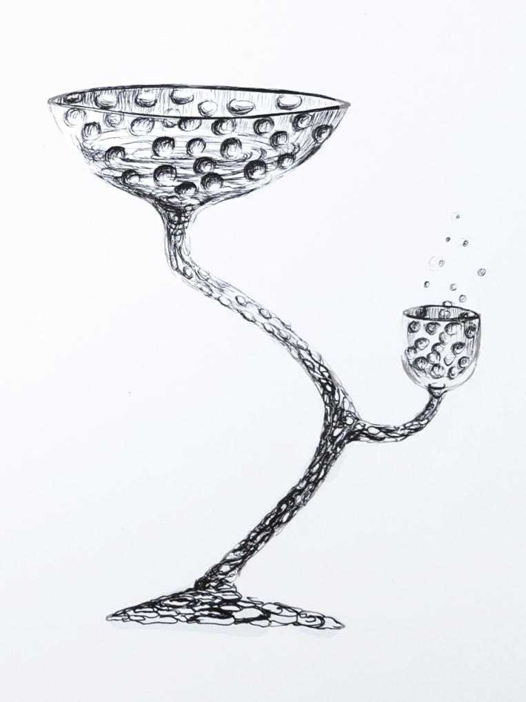 Verre à pied pour champagne _illustration