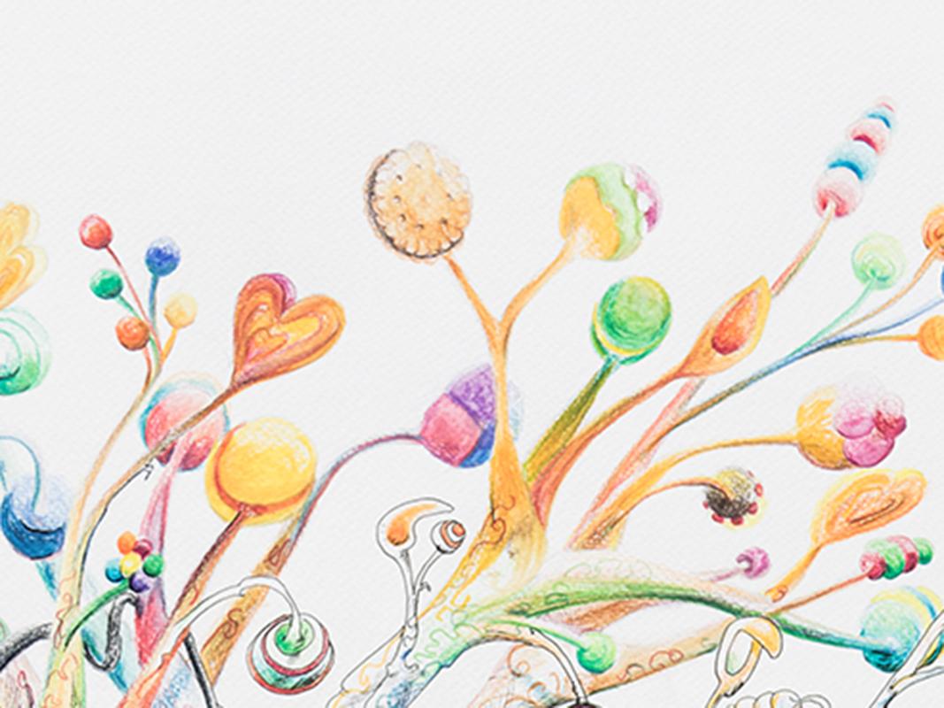 detail-arbres-a-gateaux-illustration-encre-et-crayon-couleur