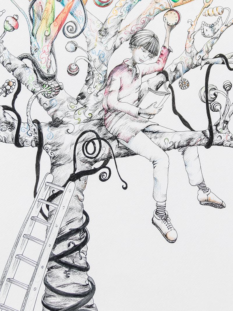 detail-arbres-a-gateaux-illustration-encre-et-crayon-couleur3