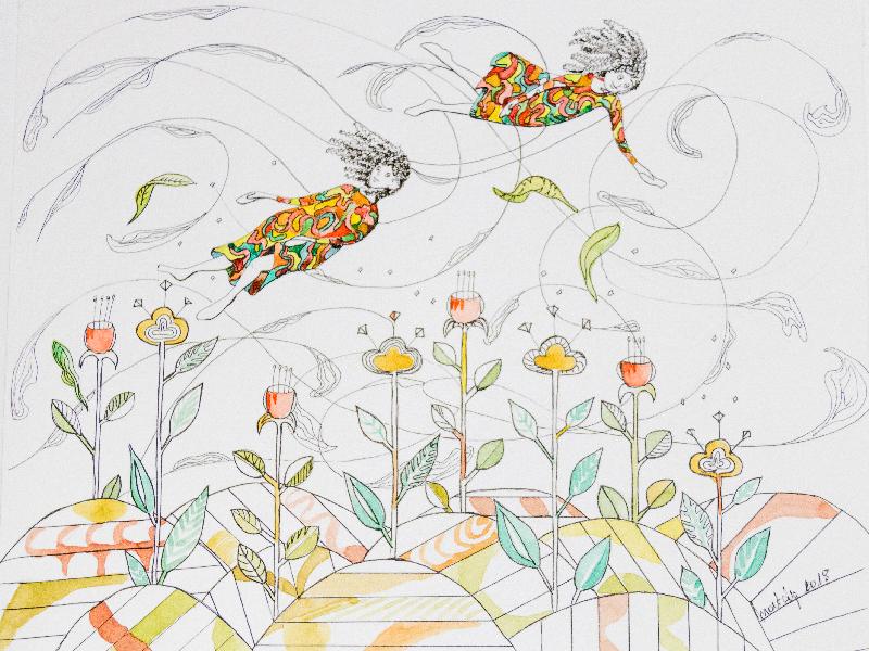 Fillettes dans le vent Les fleurs et les plantes sont fixes et les fillettes volent comme des feuilles dans le vent illustration encre noire et aquarelle