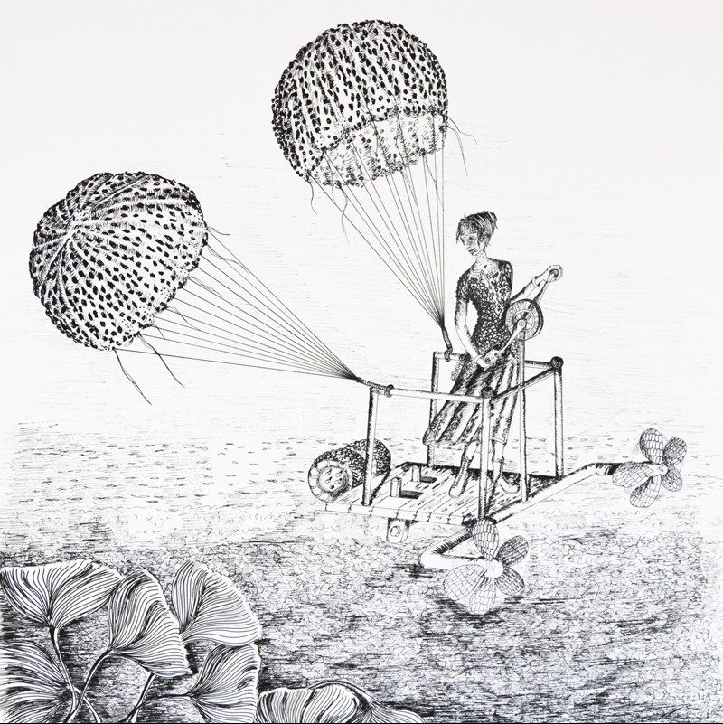le voyage improbable vol de méduses illustration encre noire