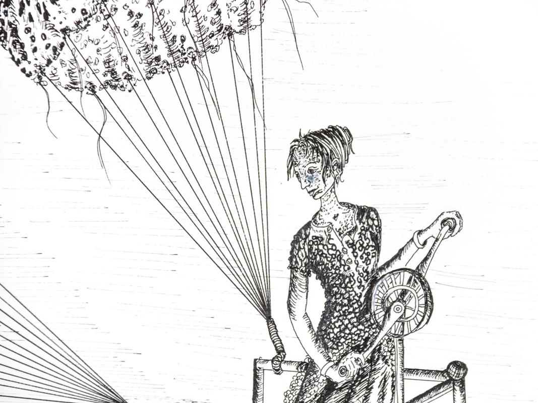 Détail de la capitaine de l'engin volant avec méduse en forme de parachute illustration encre noire