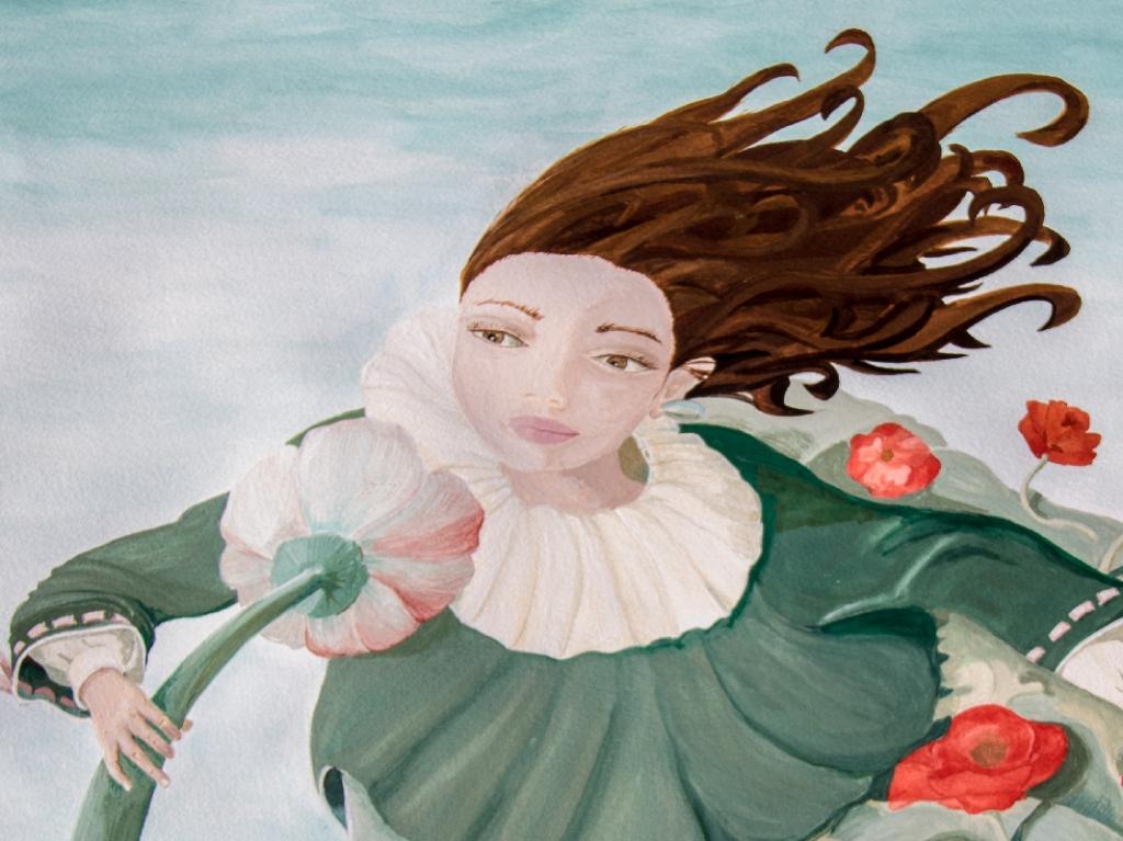 la fleur ventilateur - illustration d'une jeune fille devant une fleur ventilateur