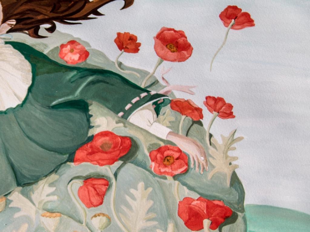 les coquelicots s'envolent de la robe sous l'effet de la fleur ventilateur-détail illustration de la fleur ventilo
