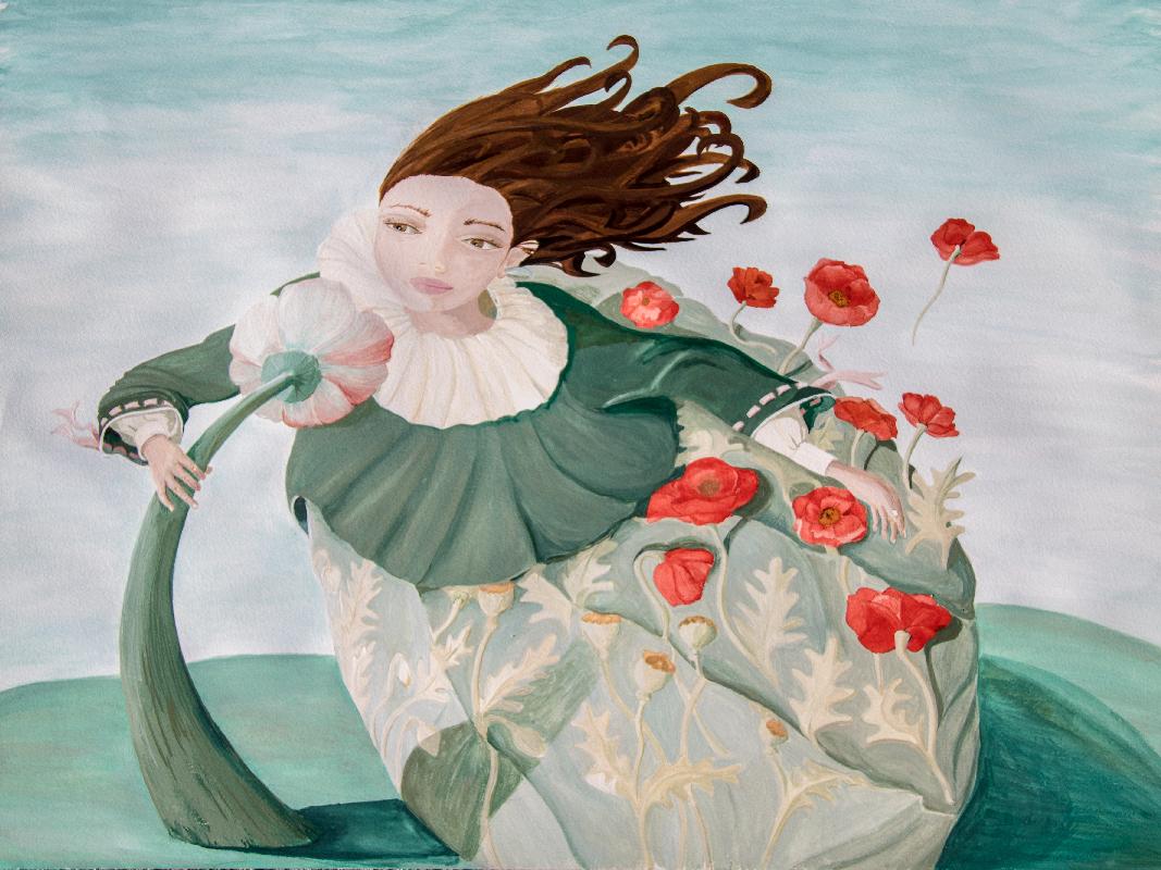 Illustration à la gouache de la jeune fille devant la fleur ventilo