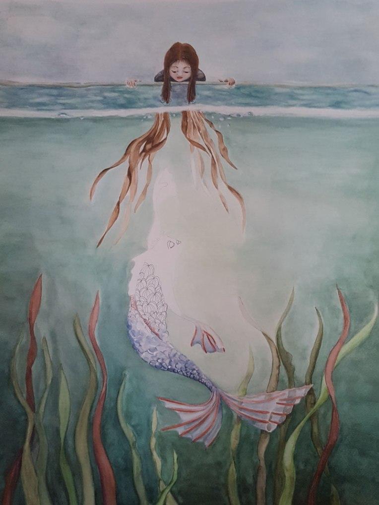 Illustration aquarelle - métamorphose du poisson en homme