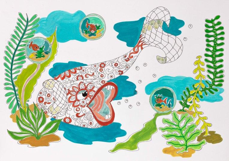 Le confinement des poissons - enfin presque - illustration gouache