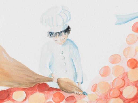 Pâtissier créant un robe illustration à la gouache