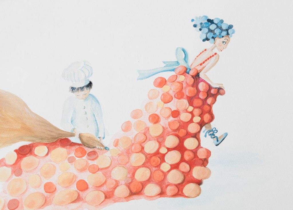 illustration création d'une robe gâteau