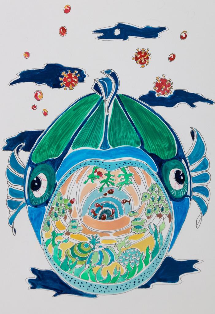 Illustration du confinement dans la gueule d'un poisson
