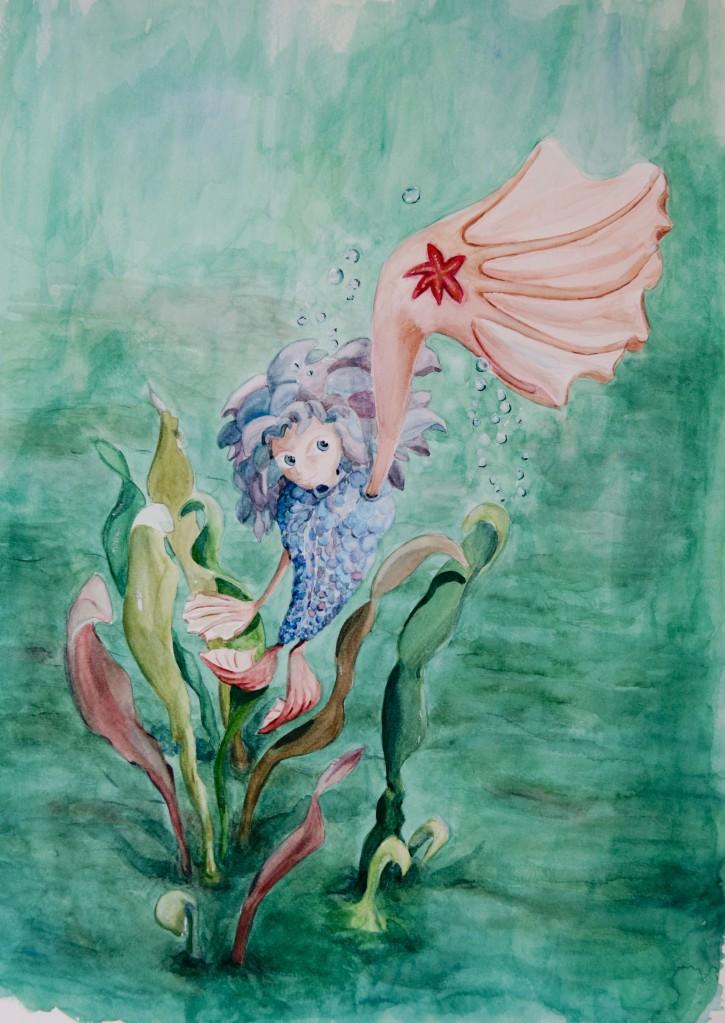 illustration sirène  vue plongeante - gouache format raison