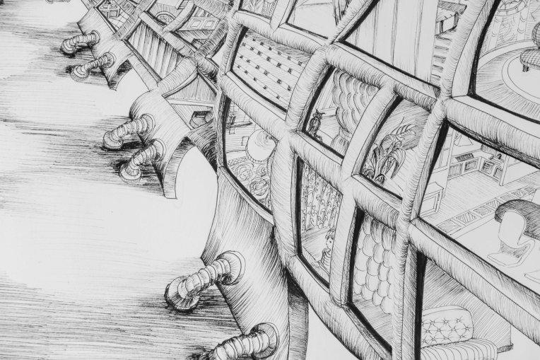 détail illustration immeubles ondulant dans le vent et confinement des hommes dans leurs appartements