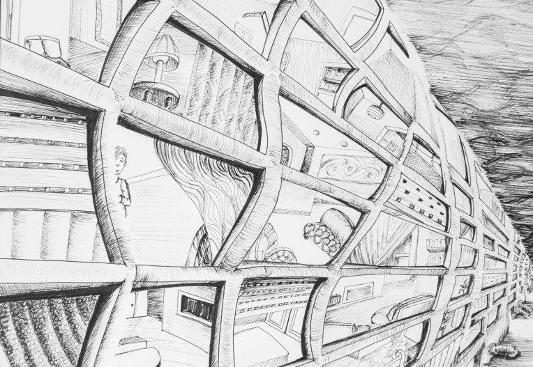 détail illustration immeubles ondulants dans le vent et confinement des hommes dans leurs appartements