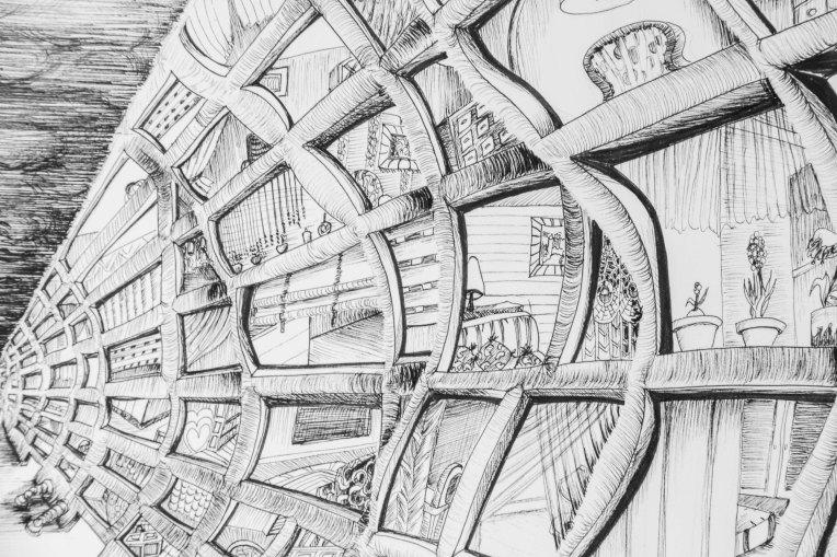 détail illustration encre noire  immeubles ondulant dans le vent et confinement des hommes dans leurs appartements