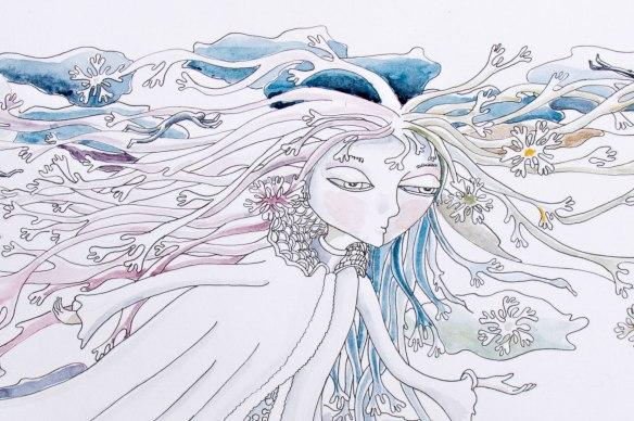 """illustration d'un poème """"EN HIVERS"""" Chloe douglas détail"""