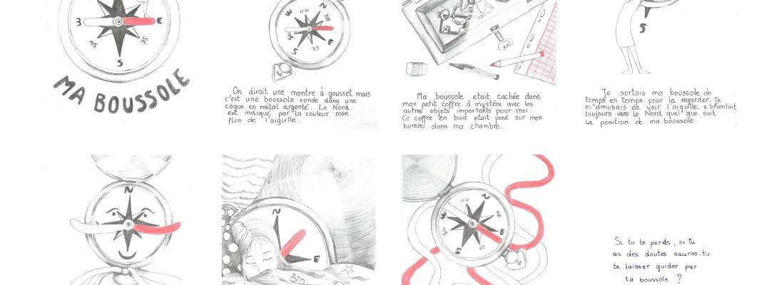 Ma boussole illustration - histoire d'un objet personnel crayon gris et crayon de couleur