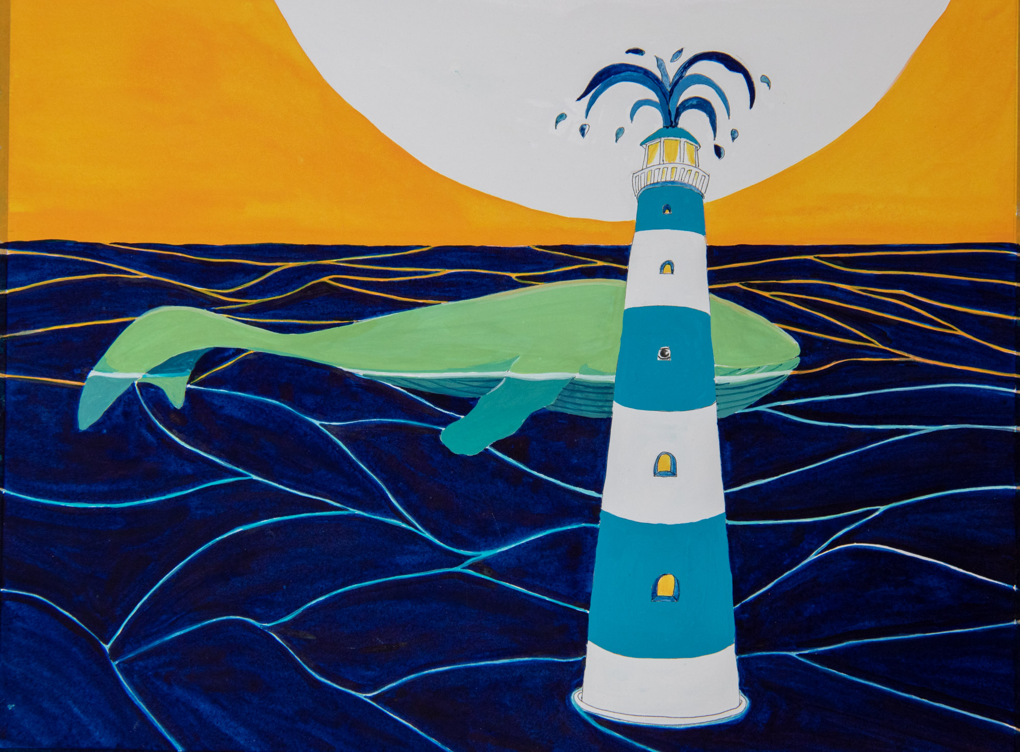 Le phare de la baleine - illustration à la gouache -jeu de d'illusion d'optique