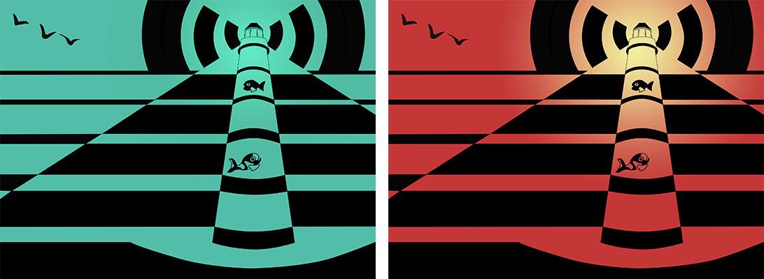 phare a poissons - illustration sous photoshop - graphisme