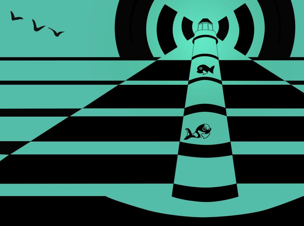 illustration sur photoshop d'un phare mias pour les poissons